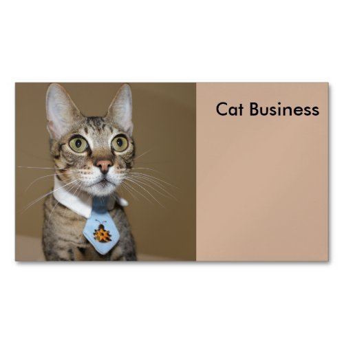 Savannah Cat In A Tie Magnetic Business Card