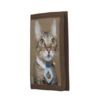 Savannah Cat In A Tie Tri-fold Wallets