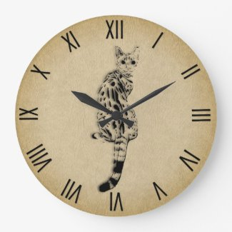 Savannah Cat with Roman Numerals Large Clock