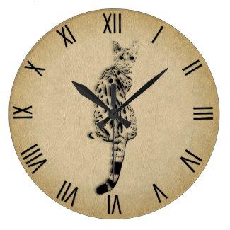 Savannah Cat with Roman Numerals Large Clock