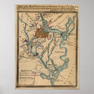 Savannah Civil War Map Poster