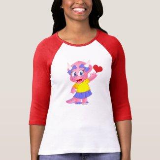 Savannah Dino Cartoon on Women's Raglan - Heart T-Shirt