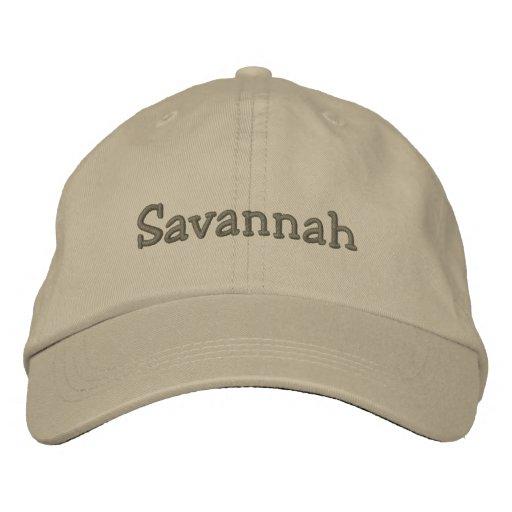Savannah Embroidered Baseball Cap / Hat Khaki