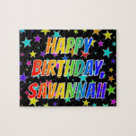 "[ Thumbnail: ""Savannah"" First Name, Fun ""Happy Birthday"" Jigsaw Puzzle ]"