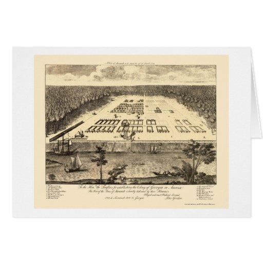 Savannah, GA Panoramic Map - 1734 Card