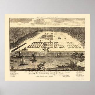 Savannah, GA Panoramic Map - 1734 Poster