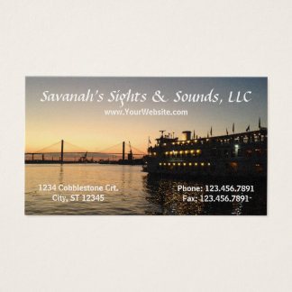 Savannah GA River Night Scene Business Card