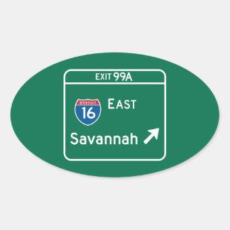Savannah, GA Road Sign Oval Sticker