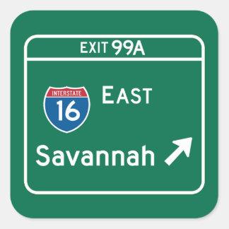 Savannah, GA Road Sign Square Sticker