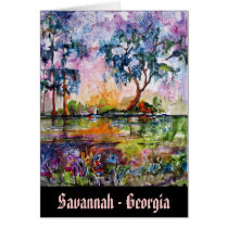 savannah, georgia, travel, live oak, greeting card, ginette, fine art, watercolor, blue, purple, contemporary, designs, Card with custom graphic design