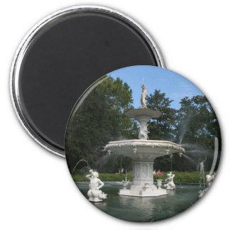 Savannah Georgia Forsyth Fountain 2 Inch Round Magnet