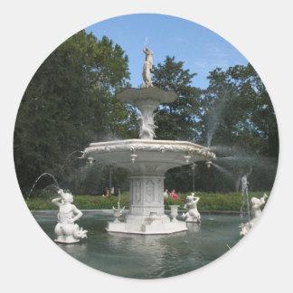Savannah Georgia Forsyth Fountain Classic Round Sticker