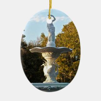 Savannah Georgia Forsyth Park Fountain Double-Sided Oval Ceramic Christmas Ornament