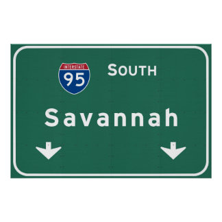 Savannah Georgia ga Interstate Highway Freeway : Poster