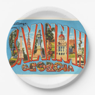 Savannah Georgia GA Old Vintage Travel Souvenir Paper Plate