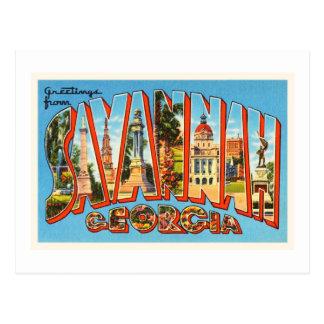Savannah Georgia GA Old Vintage Travel Souvenir Postcard