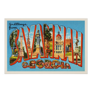 Savannah Georgia GA Old Vintage Travel Souvenir Poster