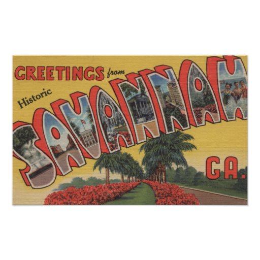 Savannah, Georgia (Historic) - Large Letter Poster