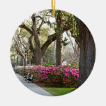 Savannah Georgia in Spring Forsyth Park Azaleas Oa Double-Sided Ceramic Round Christmas Ornament