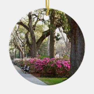 Savannah Georgia in Spring Forsyth Park Azaleas Oa Christmas Ornaments