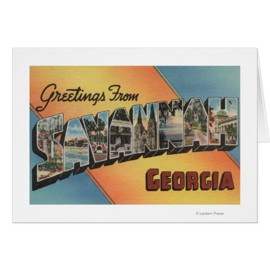 Savannah, Georgia - Large Letter Scenes Card