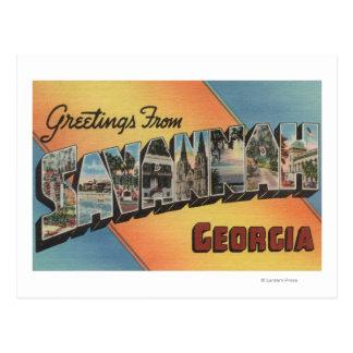 Savannah, Georgia - Large Letter Scenes Postcard
