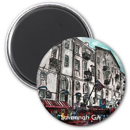 Savannah Georgia River Street art drawing Magnet