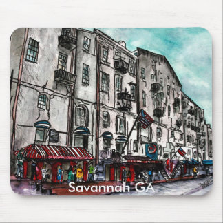 Savannah Georgia River Street art drawing Mouse Pad