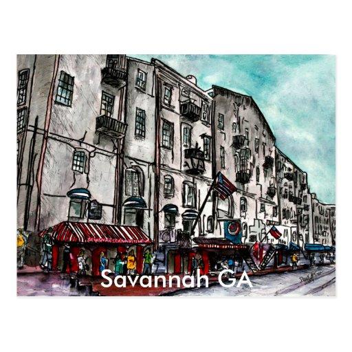Savannah Georgia River Street art drawing Postcards