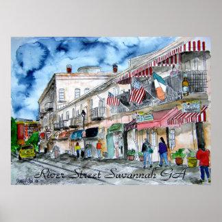 Savannah Georgia River Street cityscape art print