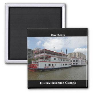Savannah Georgia Riverboats 2 Inch Square Magnet