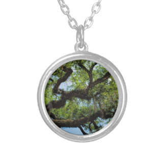 Savannah Live Oak And Spanish Moss Silver Plated Necklace
