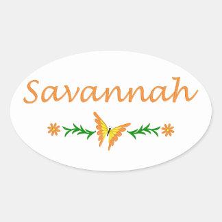 Savannah (Orange Butterfly) Oval Sticker