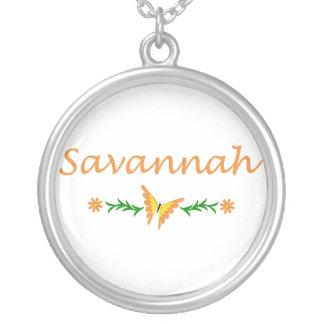 Savannah (Orange Butterfly) Round Pendant Necklace