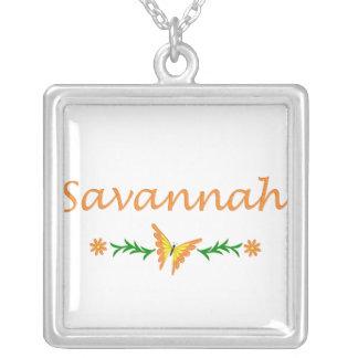 Savannah (Orange Butterfly) Square Pendant Necklace