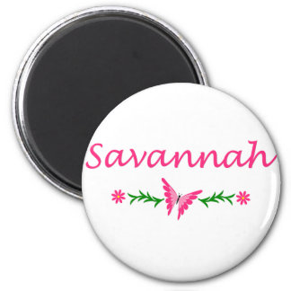 Savannah (Pink Butterfly) 2 Inch Round Magnet
