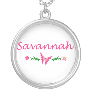 Savannah (Pink Butterfly) Round Pendant Necklace