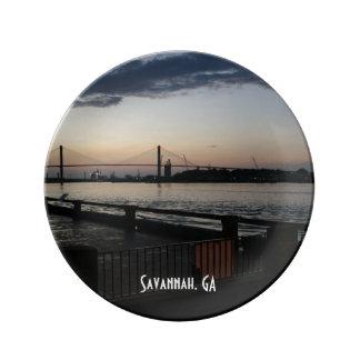 Savannah River on River Street Photo Porcelain Plate