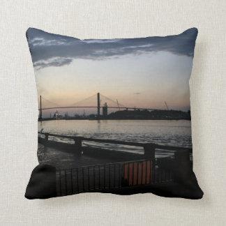 Savannah River on River Street Photo Throw Pillow