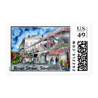 savannah_river_street_painting, calle del río, S… Sello Postal