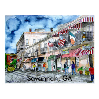 SAVANNAH river street painting post card, GA Postcard