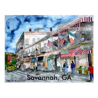 SAVANNAH river street painting post card, GA Postcard