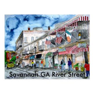 savannah_river_street_painting, sabana GA Riv… Postales
