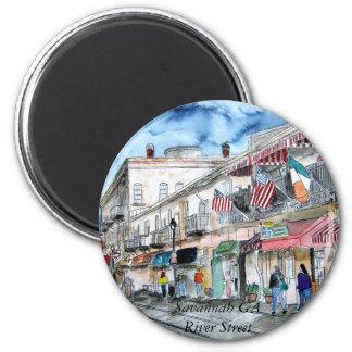 savannah_river_street_painting, Savannah GA Riv... 2 Inch Round Magnet
