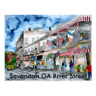 savannah_river_street_painting, Savannah GA Riv... Postcard
