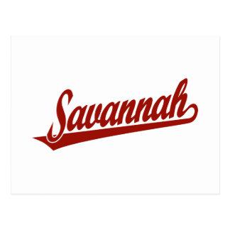 Savannah script logo in red postcard
