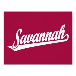 Savannah script logo in white card
