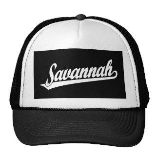 Savannah script logo in white trucker hat