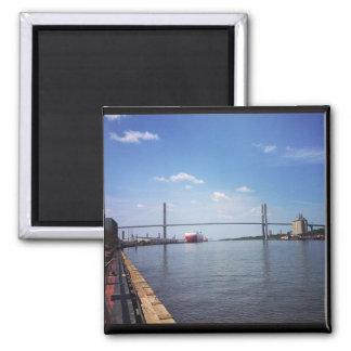 Savannah Suspension Bridge 2 Inch Square Magnet