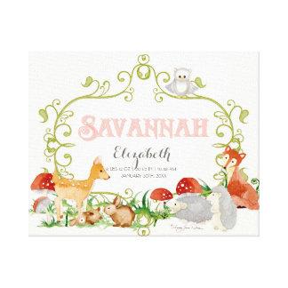 Savannah Top 100 Baby Names Girls Newborn Nursery Stretched Canvas Prints